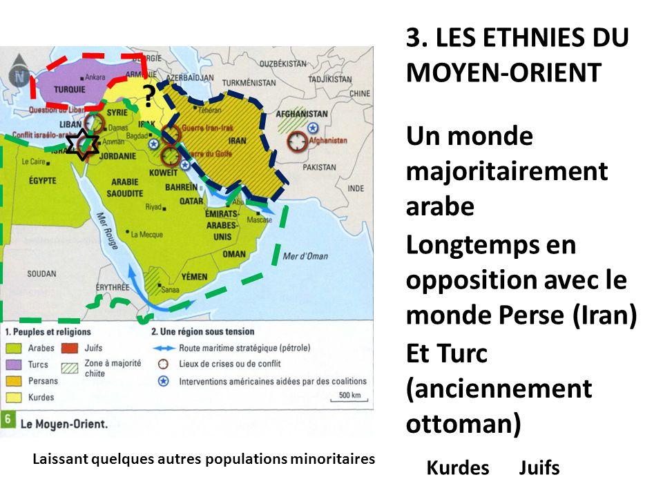 3. LES ETHNIES DU MOYEN-ORIENT Un monde majoritairement arabe Longtemps en opposition avec le monde Perse (Iran) Et Turc (anciennement ottoman) Laissa