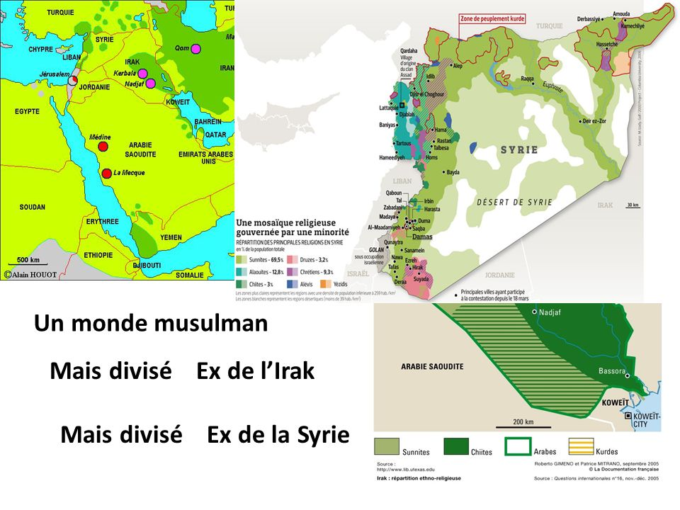 4. LES RELIGIONS DU MOYEN-ORIENT Un monde musulman Mais divisé Ex de l'Irak Mais divisé Ex de la Syrie Les deux grandes familles de l'Islam se divisen