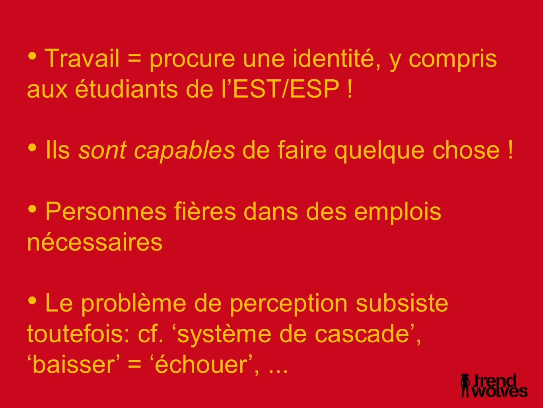 • Travail = procure une identité, y compris aux étudiants de l'EST/ESP .