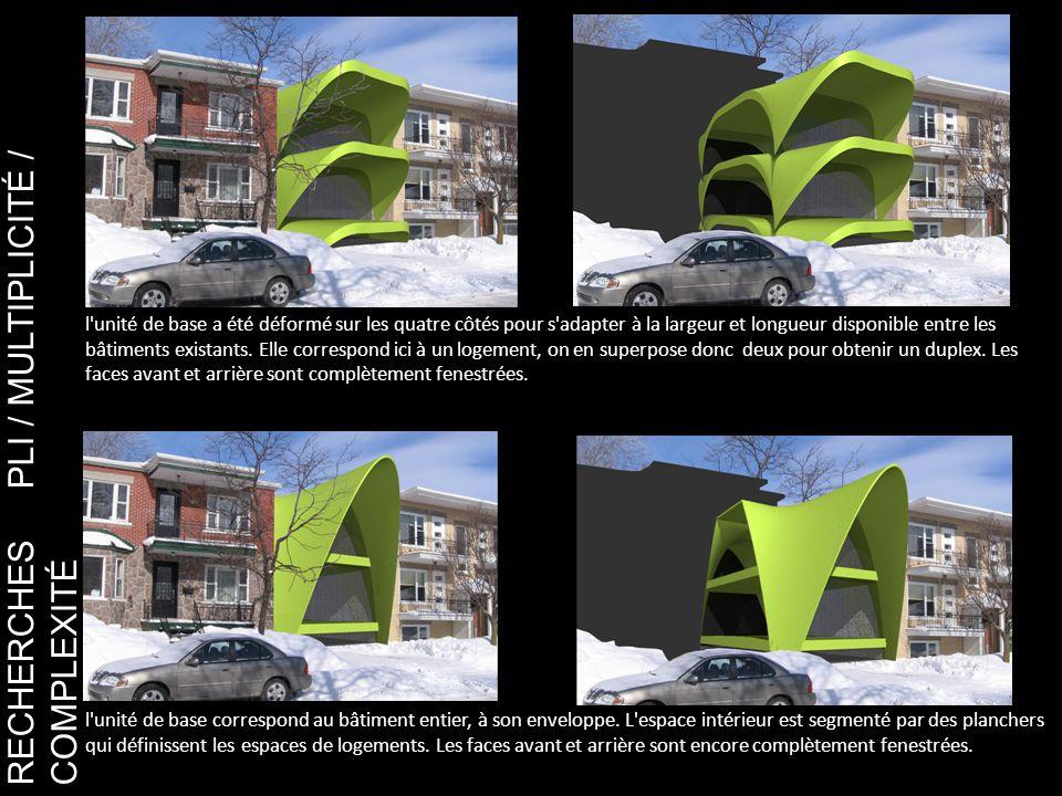 RECHERCHES PLI / MULTIPLICITÉ / COMPLEXITÉ l unité de base a été déformé sur les quatre côtés pour s adapter à la largeur et longueur disponible entre les bâtiments existants.