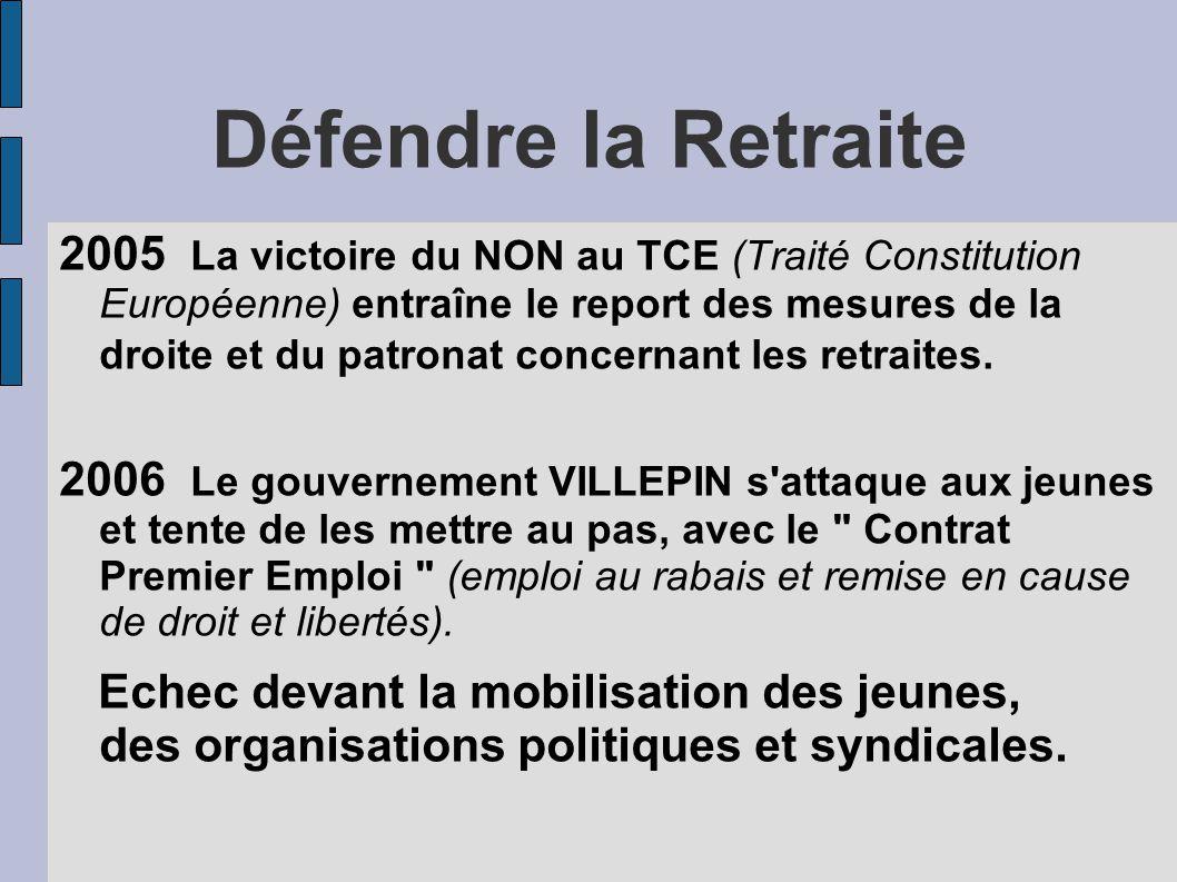 Défendre la Retraite 2005 La victoire du NON au TCE (Traité Constitution Européenne) entraîne le report des mesures de la droite et du patronat concernant les retraites.