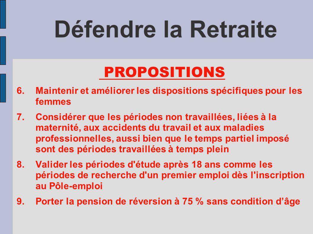 Défendre la Retraite PROPOSITIONS 6.Maintenir et améliorer les dispositions spécifiques pour les femmes 7.Considérer que les périodes non travaillées,