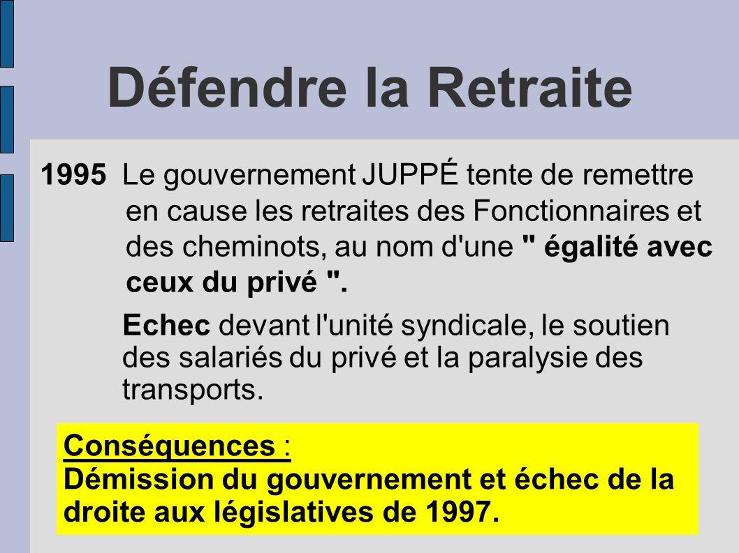 Défendre la Retraite 1995 Le gouvernement JUPPÉ tente de remettre en cause les retraites des Fonctionnaires et des cheminots, au nom d une égalité avec ceux du privé .