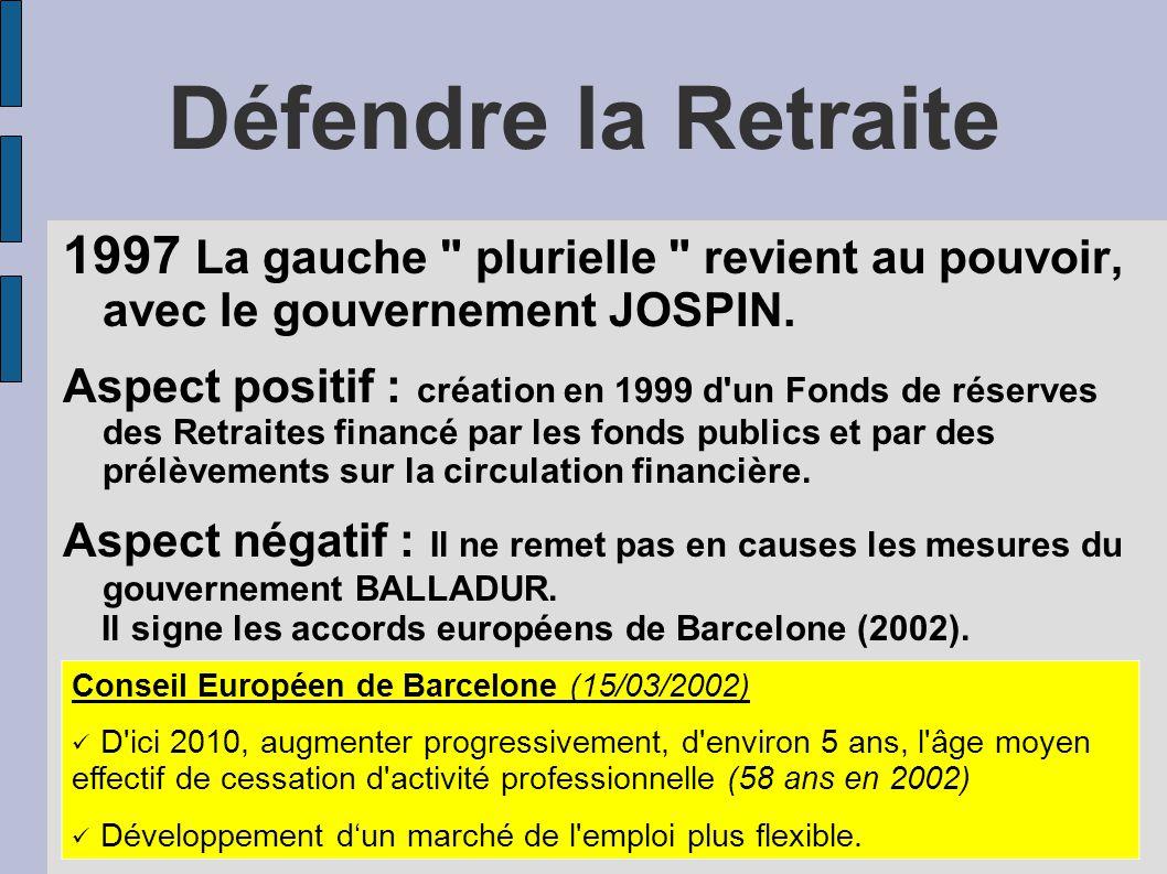 Défendre la Retraite 1997 La gauche plurielle revient au pouvoir, avec le gouvernement JOSPIN.