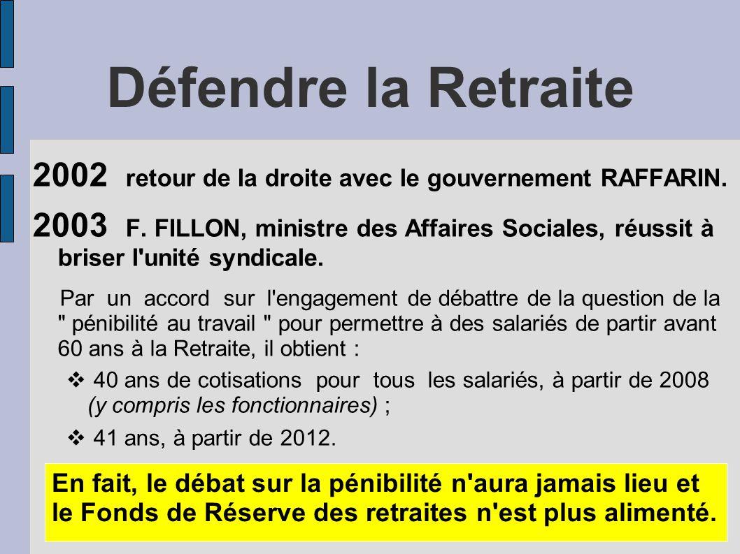 Défendre la Retraite 2002 retour de la droite avec le gouvernement RAFFARIN. 2003 F. FILLON, ministre des Affaires Sociales, réussit à briser l'unité