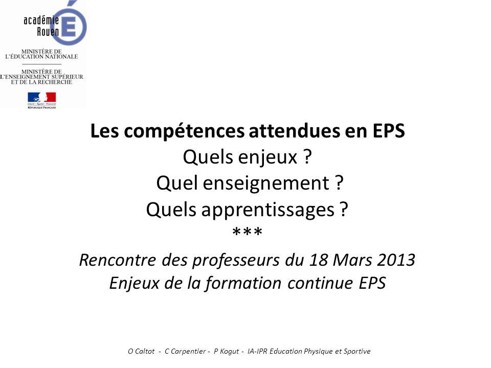Les compétences attendues en EPS Quels enjeux ? Quel enseignement ? Quels apprentissages ? *** Rencontre des professeurs du 18 Mars 2013 Enjeux de la