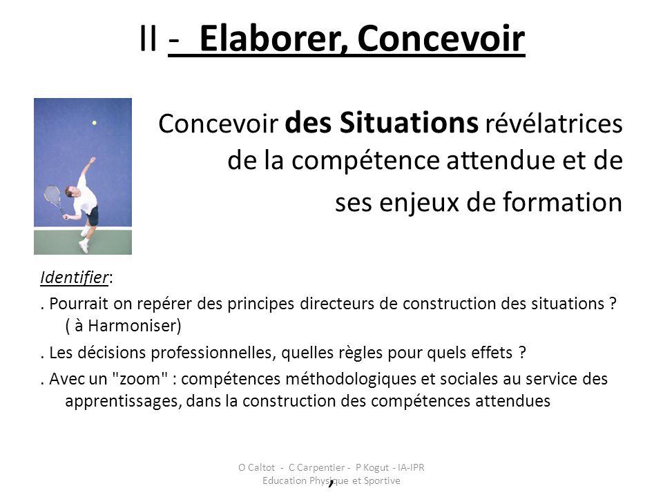 II - Elaborer, Concevoir Concevoir des Situations révélatrices de la compétence attendue et de ses enjeux de formation Identifier:. Pourrait on repére