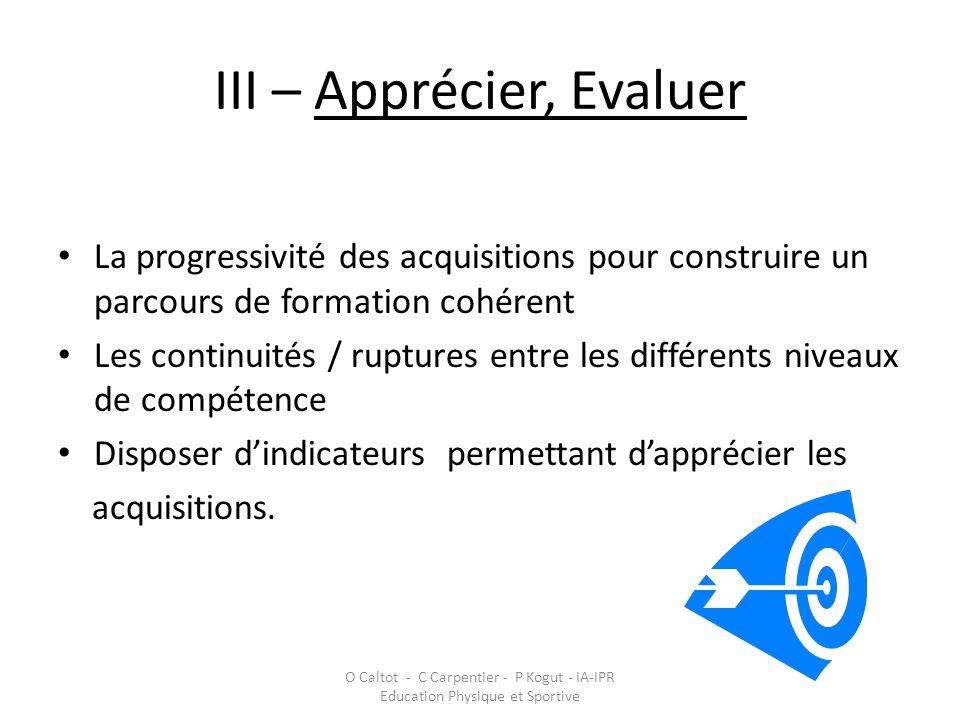 III – Apprécier, Evaluer • La progressivité des acquisitions pour construire un parcours de formation cohérent • Les continuités / ruptures entre les