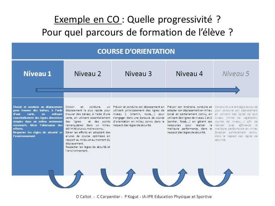 Exemple en CO : Quelle progressivité ? Pour quel parcours de formation de l'élève ? COURSE D'ORIENTATION Niveau 1 Niveau 2 Niveau 3 Niveau 4 Niveau 5