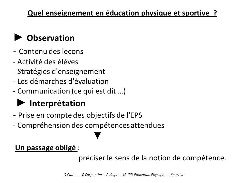 Quel enseignement en éducation physique et sportive ? ► Observation - Contenu des leçons - Activité des élèves - Stratégies d'enseignement - Les démar