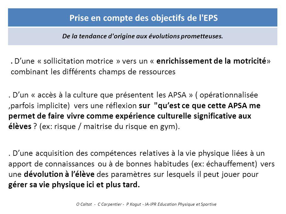 O Caltot - C Carpentier - P Kogut - IA-IPR Education Physique et Sportive Prise en compte des objectifs de l'EPS De la tendance d'origine aux évolutio