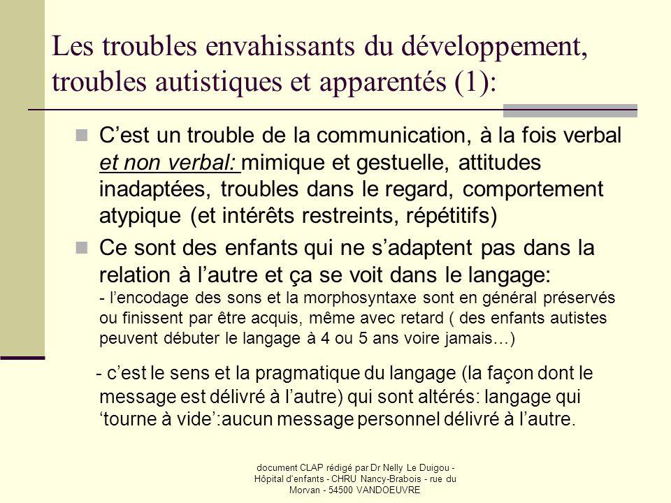 document CLAP rédigé par Dr Nelly Le Duigou - Hôpital d'enfants - CHRU Nancy-Brabois - rue du Morvan - 54500 VANDOEUVRE Les troubles envahissants du d