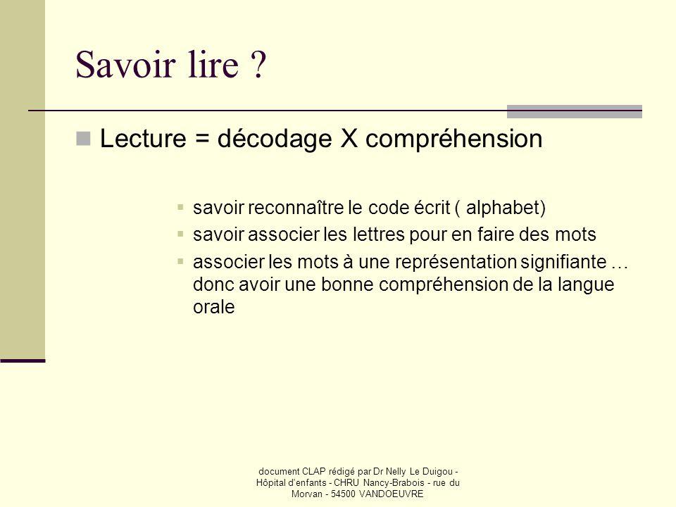 document CLAP rédigé par Dr Nelly Le Duigou - Hôpital d'enfants - CHRU Nancy-Brabois - rue du Morvan - 54500 VANDOEUVRE Savoir lire ?  Lecture = déco