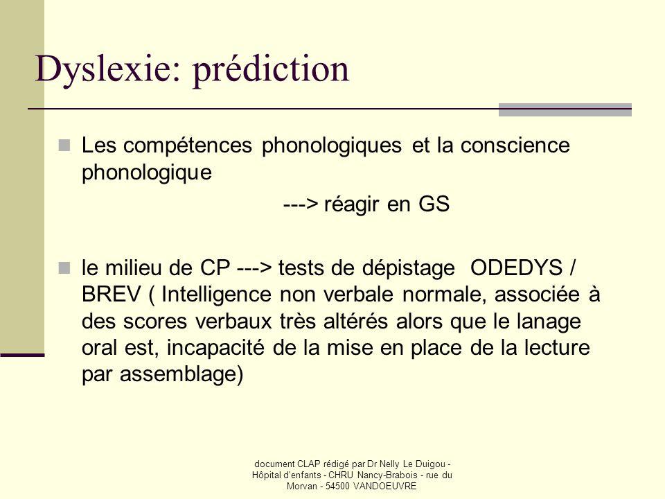 document CLAP rédigé par Dr Nelly Le Duigou - Hôpital d'enfants - CHRU Nancy-Brabois - rue du Morvan - 54500 VANDOEUVRE Dyslexie: prédiction  Les com