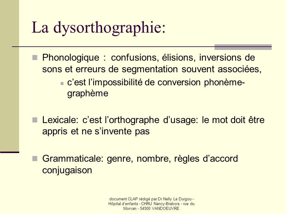 document CLAP rédigé par Dr Nelly Le Duigou - Hôpital d'enfants - CHRU Nancy-Brabois - rue du Morvan - 54500 VANDOEUVRE La dysorthographie:  Phonolog