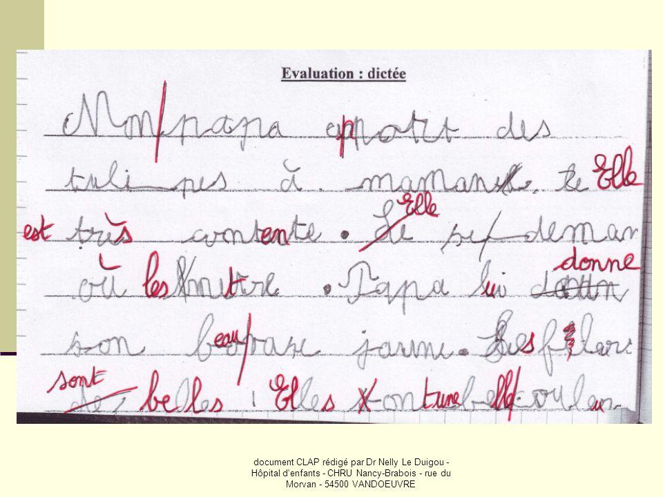 document CLAP rédigé par Dr Nelly Le Duigou - Hôpital d'enfants - CHRU Nancy-Brabois - rue du Morvan - 54500 VANDOEUVRE
