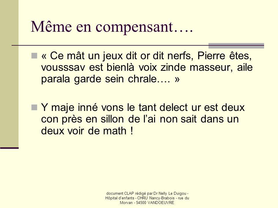 document CLAP rédigé par Dr Nelly Le Duigou - Hôpital d'enfants - CHRU Nancy-Brabois - rue du Morvan - 54500 VANDOEUVRE Même en compensant….  « Ce mâ