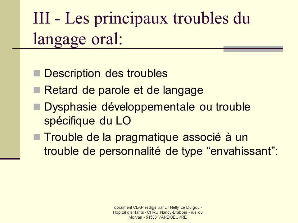 document CLAP rédigé par Dr Nelly Le Duigou - Hôpital d'enfants - CHRU Nancy-Brabois - rue du Morvan - 54500 VANDOEUVRE III - Les principaux troubles