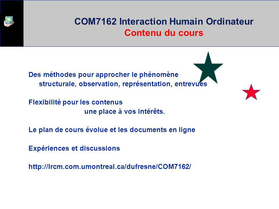 COM7162 Interaction Humain Ordinateur Contenu du cours Des méthodes pour approcher le phénomène structurale, observation, représentation, entrevues Flexibilité pour les contenus une place à vos intérêts.