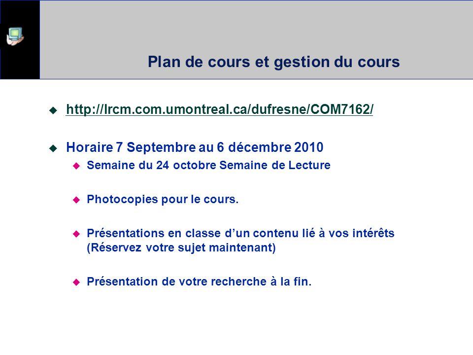 Plan de cours et gestion du cours  http://lrcm.com.umontreal.ca/dufresne/COM7162/ http://lrcm.com.umontreal.ca/dufresne/COM7162/  Horaire 7 Septembre au 6 décembre 2010  Semaine du 24 octobre Semaine de Lecture  Photocopies pour le cours.