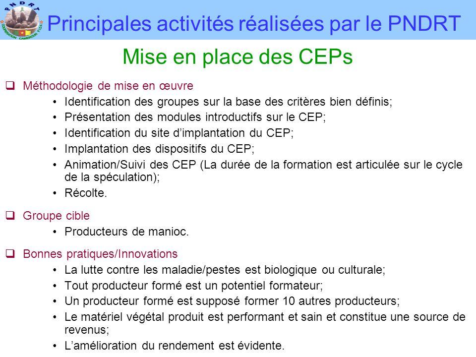 Principales activités réalisées par le PNDRT Mise en place des CEPs  Méthodologie de mise en œuvre •Identification des groupes sur la base des critèr