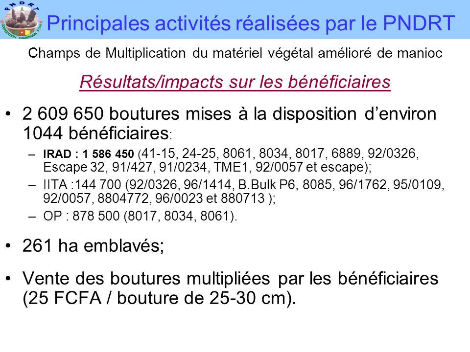 Principales activités réalisées par le PNDRT Champs de Multiplication du matériel végétal amélioré de manioc Résultats/impacts sur les bénéficiaires •2 609 650 boutures mises à la disposition d'environ 1044 bénéficiaires : –IRAD : 1 586 450 ( 41-15, 24-25, 8061, 8034, 8017, 6889, 92/0326, Escape 32, 91/427, 91/0234, TME1, 92/0057 et escape); –IITA :144 700 (92/0326, 96/1414, B.Bulk P6, 8085, 96/1762, 95/0109, 92/0057, 8804772, 96/0023 et 880713 ); –OP : 878 500 (8017, 8034, 8061).
