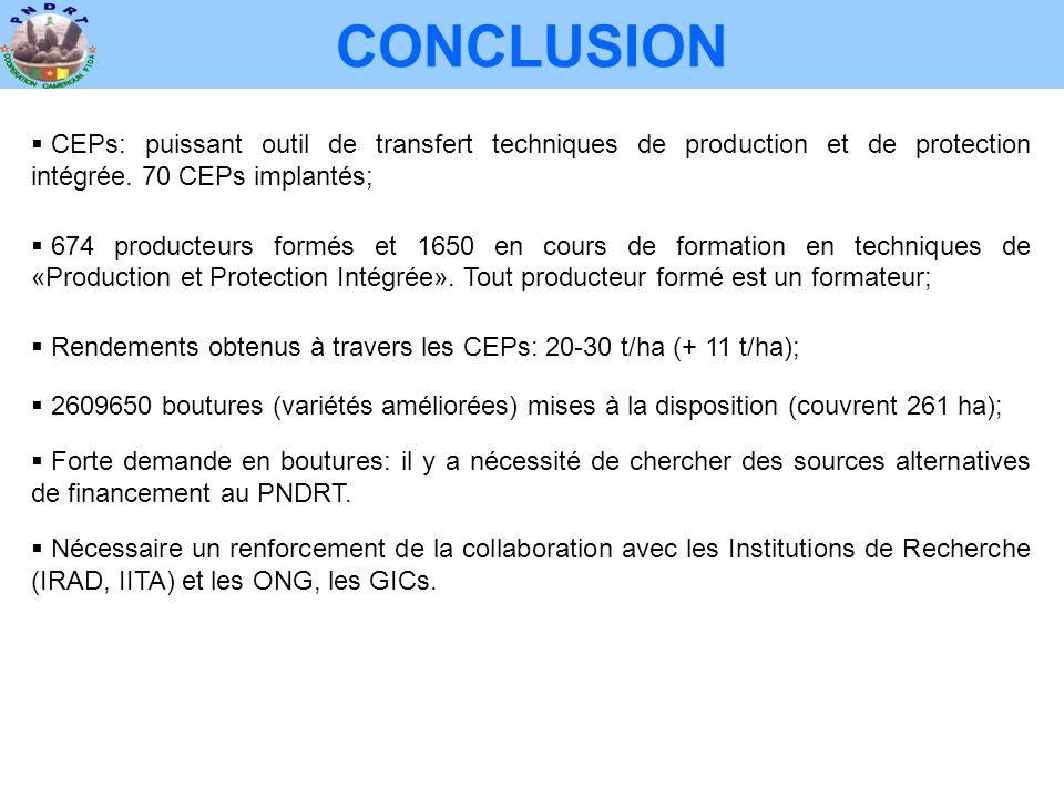 CONCLUSION  CEPs: puissant outil de transfert techniques de production et de protection intégrée. 70 CEPs implantés;  674 producteurs formés et 1650