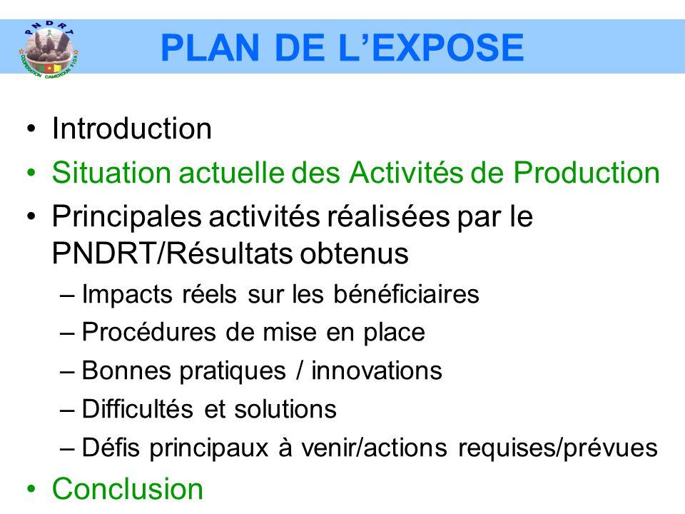 PLAN DE L'EXPOSE •Introduction •Situation actuelle des Activités de Production •Principales activités réalisées par le PNDRT/Résultats obtenus –Impact