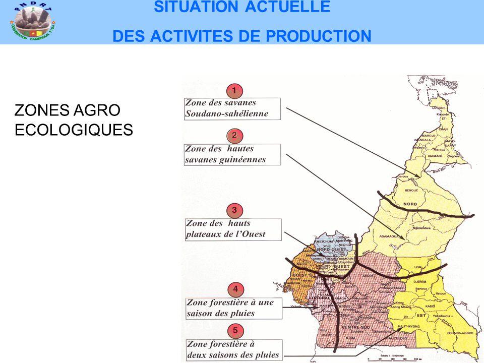 SITUATION ACTUELLE DES ACTIVITES DE PRODUCTION ZONES AGRO ECOLOGIQUES