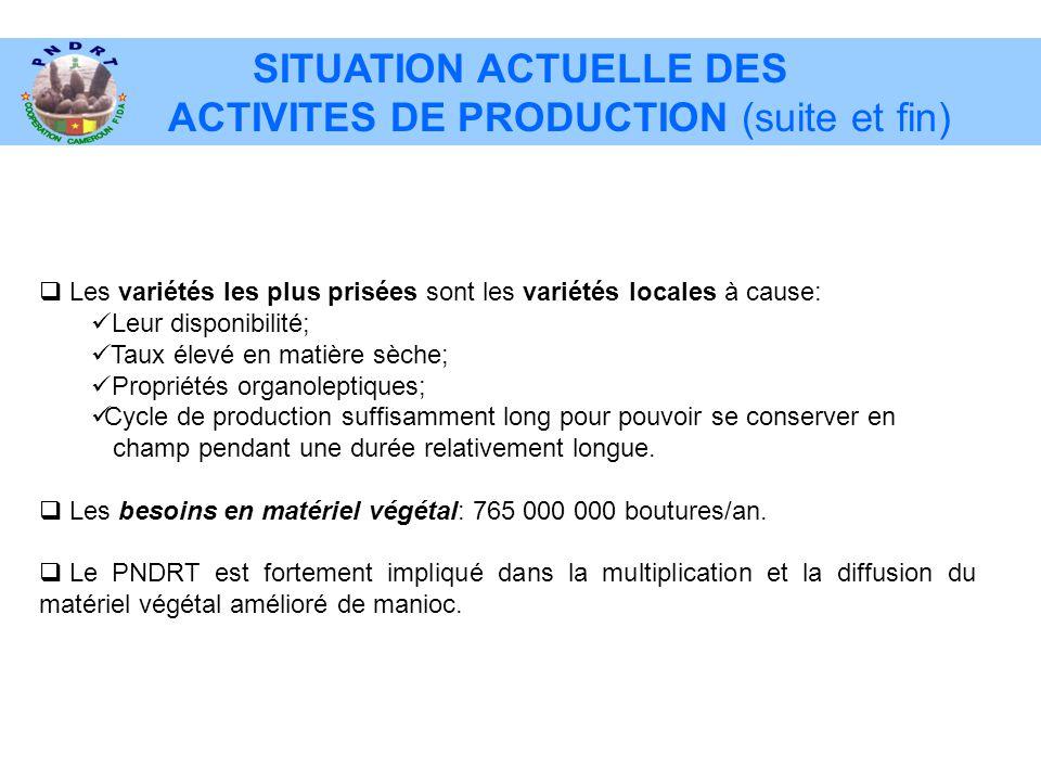 SITUATION ACTUELLE DES ACTIVITES DE PRODUCTION (suite et fin)  Les variétés les plus prisées sont les variétés locales à cause:  Leur disponibilité;