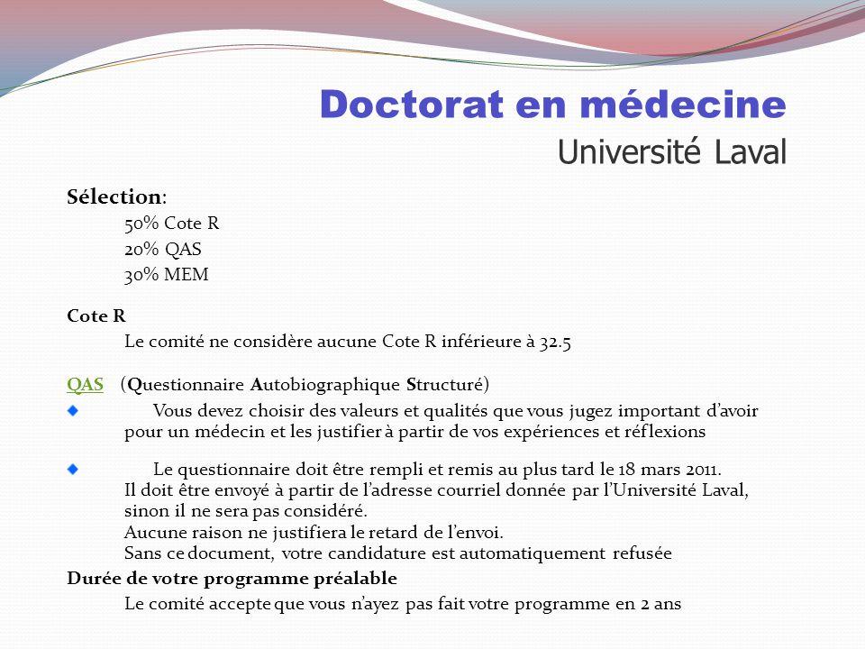 Doctorat en médecine Université Laval Places disponibles: 2010 Pour les collégiens 2123 demandes d'admission 433invités à la sélection 225personnes in