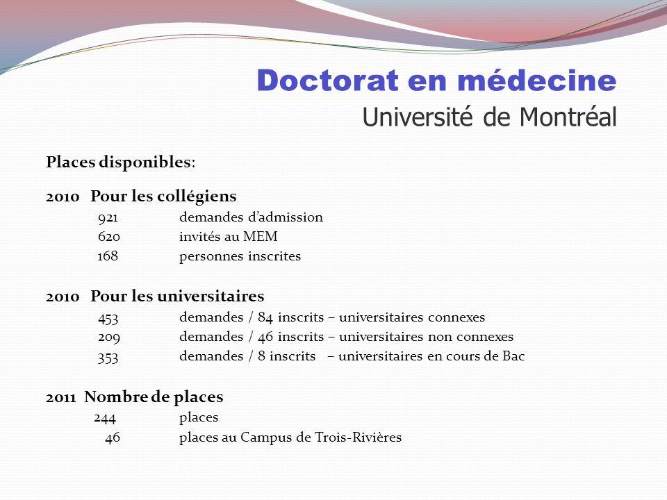 Doctorat en médecine Université Laval Particularités : Magistral à 60% Profil international Quarante programmes de spécialité Adapte la formation pour