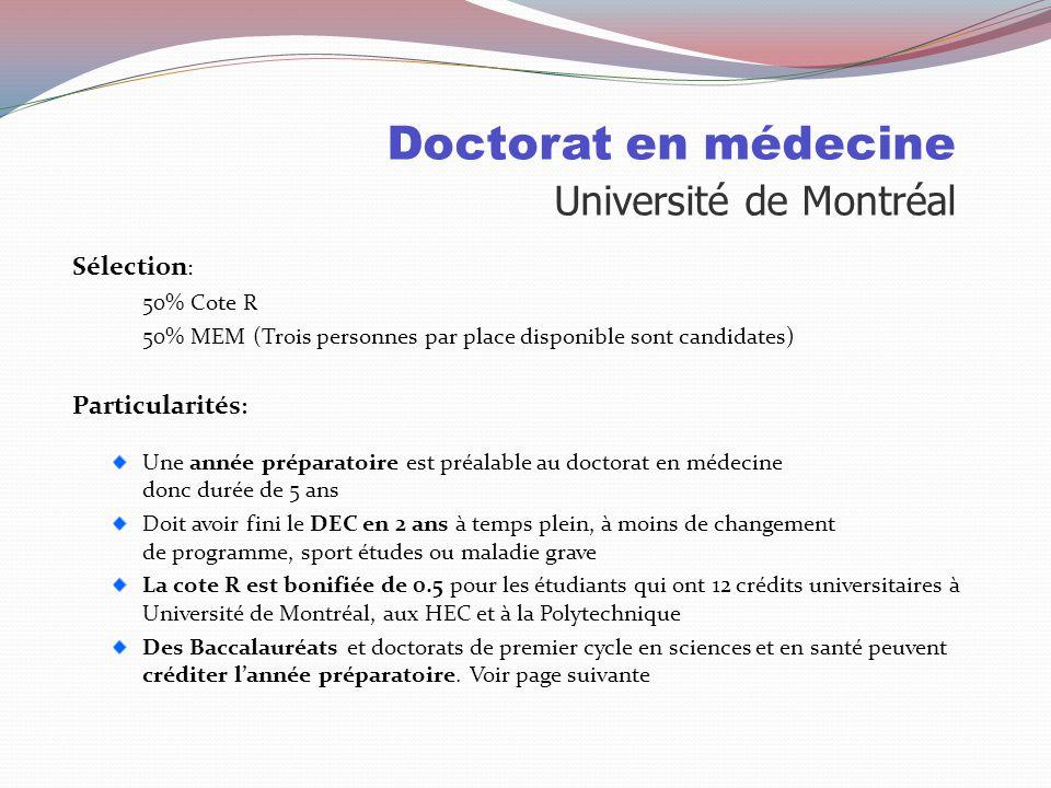 Doctorat en médecine Université de Montréal Places disponibles: 2010Pour les collégiens 921 demandes d'admission 620 invités au MEM 168 personnes insc