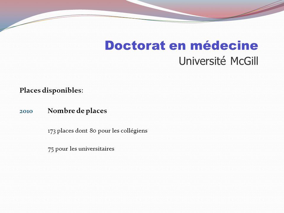 Doctorat en médecine Université de Montréal Audiologie Biochimie Ergothérapie Nutrition Orthophonie Pharmacie Physiothérapie Sciences biologiques ( sa