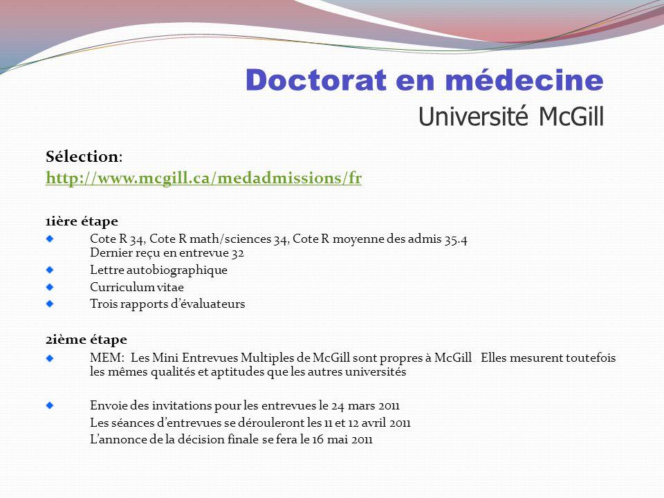 Doctorat en médecine Université McGill Places disponibles: 2010 Nombre de places 173 places dont 80 pour les collégiens 75 pour les universitaires