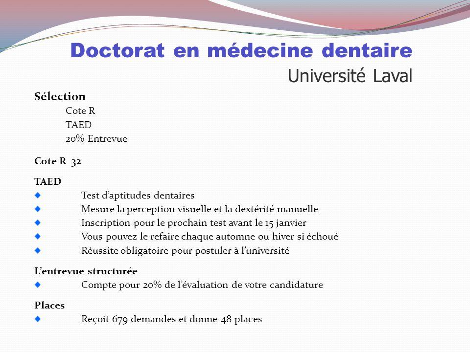 Doctorat en médecine dentaire Sélection Université de Montréal Université Mc Gill Université Laval Cote R 32.833.632 EntrevuealéatoireX X 20% TAEDXX L