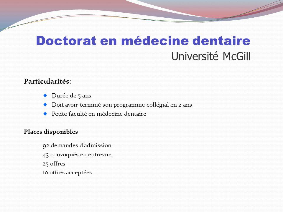 Doctorat en médecine dentaire Université McGill Sélection : 50% Cote R 50% Entrevue Cote R globale et cote R sciences/math doivent être de 33.6 TAED P