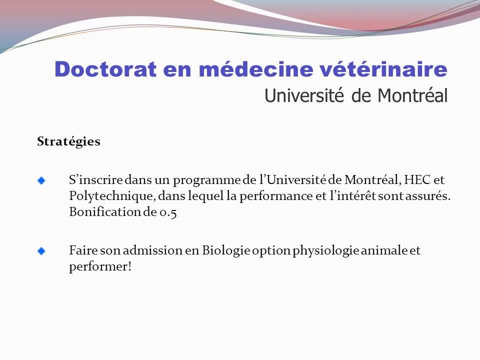 Doctorat en médecine vétérinaire Université de Montréal Particularités Seule université où on peut suivre cette formation au Québec Durée de 5 ans Les
