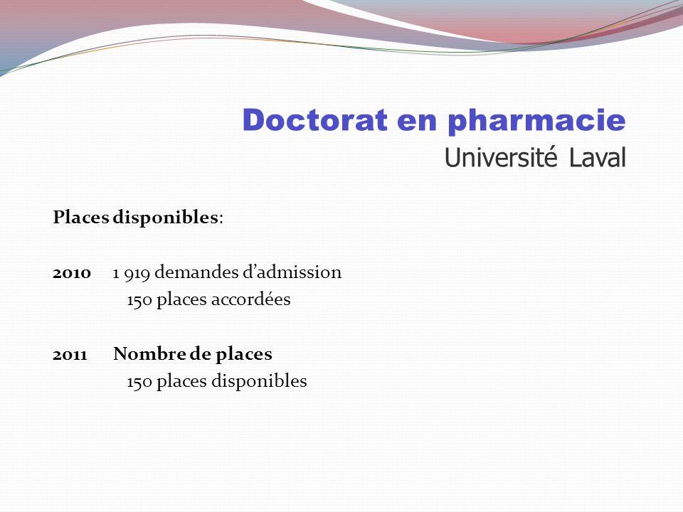 Doctorat en pharmacie Sélection Université LavalUniversité de Montréal Durée 4 ans ( 16 crédits/session ) 4 ans ( 9 sessions ) Cote R 33 75% 33.4 80%