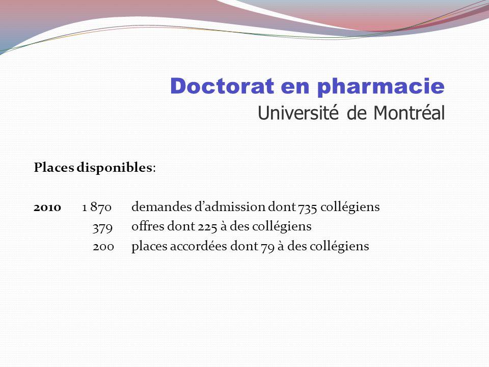 Doctorat en pharmacie Université Laval Sélection: 75% Cote R 25% test psychométrique Test psychométrique (personnalité) Évalue les qualités nécessaire