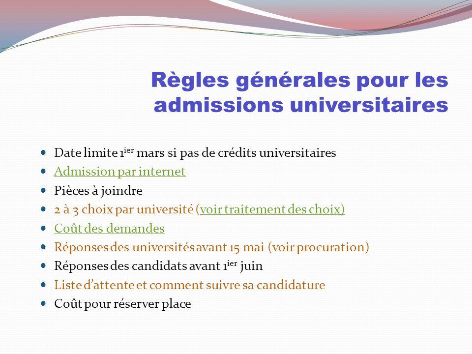 Dans les universités, la loi du 2% Jusqu'à concurrence de 45 à 75 crédits universitaires la cote R du cégep est considérée.