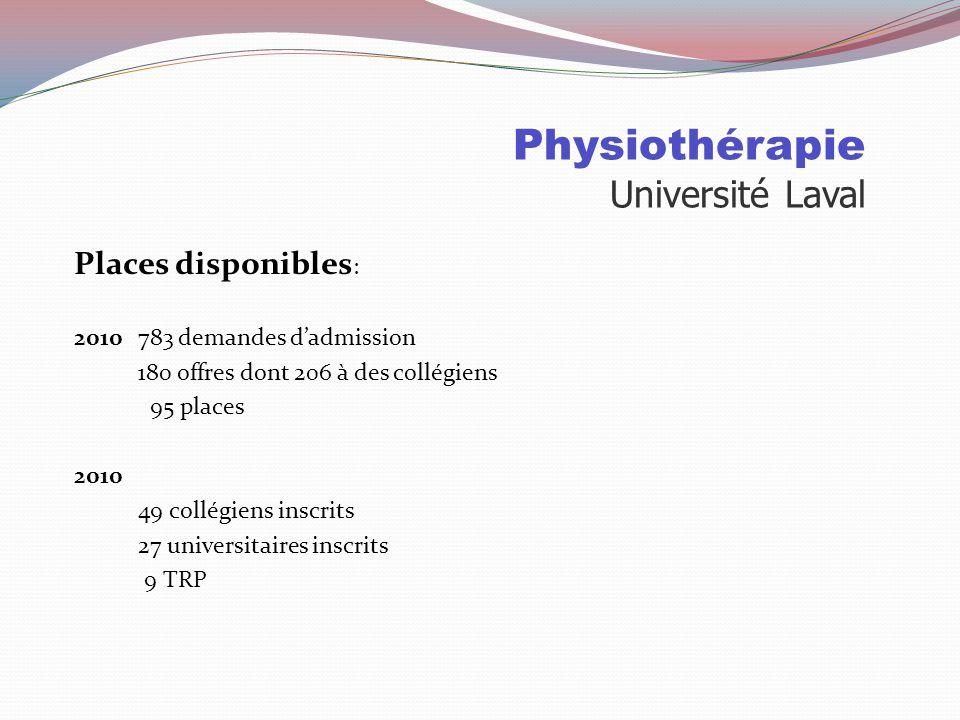 Physiothérapie Université Laval Sélection: 75% Cote R 25% NAS NAS La Note Autobiographique Standardisée doit être remplie par tous les candidats dont