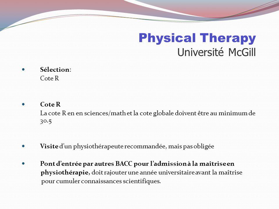 Physiothérapie Université Laval Places disponibles : 2010783 demandes d'admission 180 offres dont 206 à des collégiens 95 places 2010 49 collégiens in
