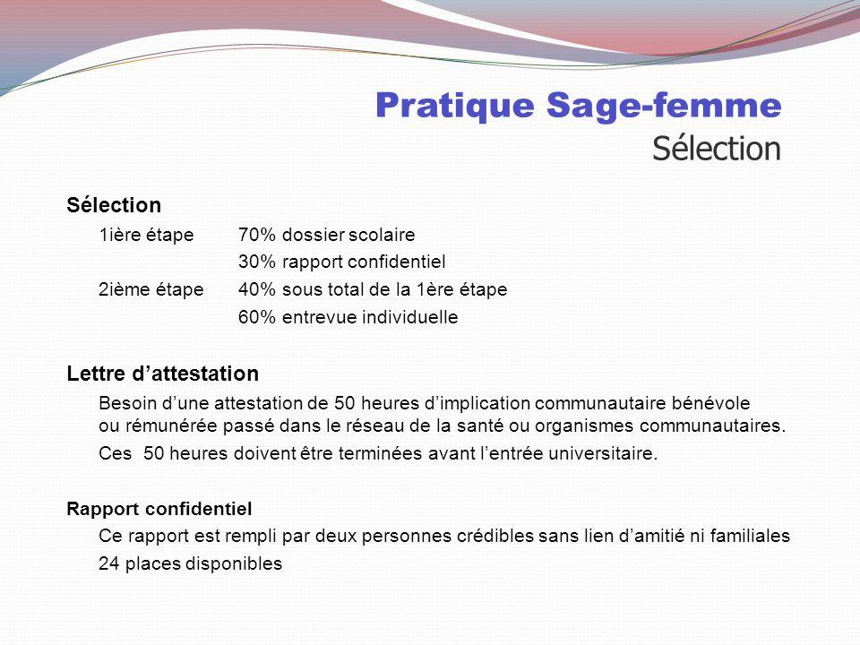 Pratique Sage-femme Sélection Université du Québec à Trois-Rivières Durée4 ans Cote RX EntrevueX Lettre d'attestation d'expérience X Rapport confident