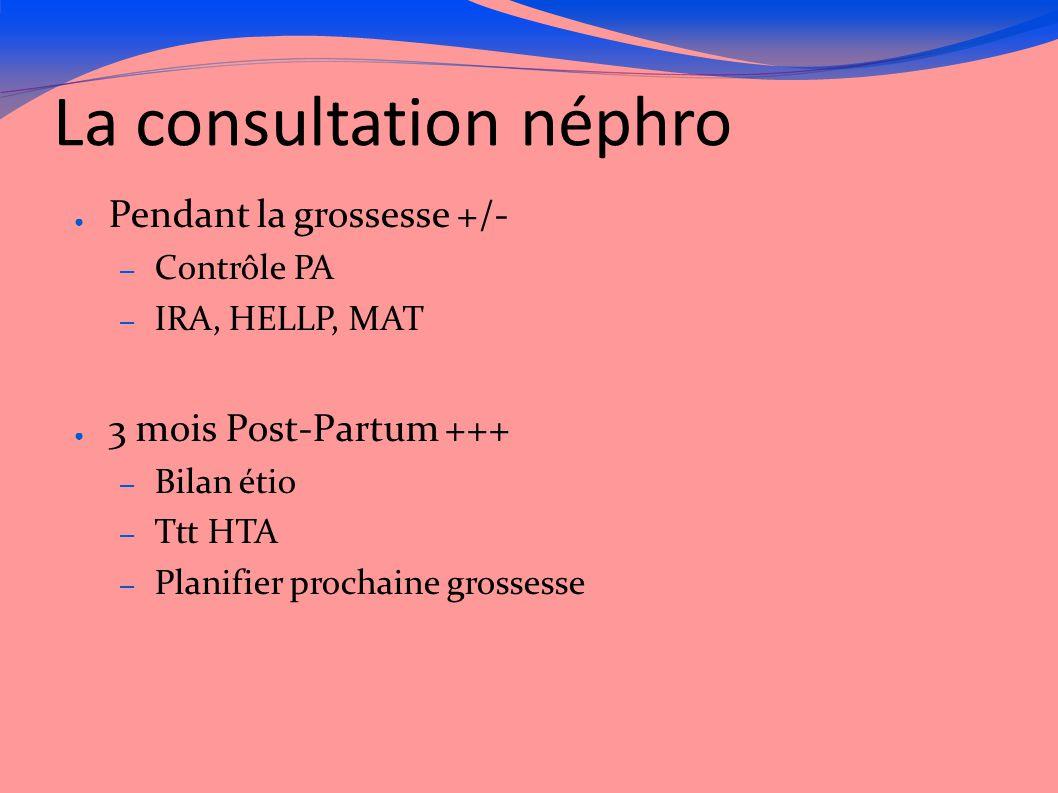 La consultation néphro ● Pendant la grossesse +/- – Contrôle PA – IRA, HELLP, MAT ● 3 mois Post-Partum +++ – Bilan étio – Ttt HTA – Planifier prochain