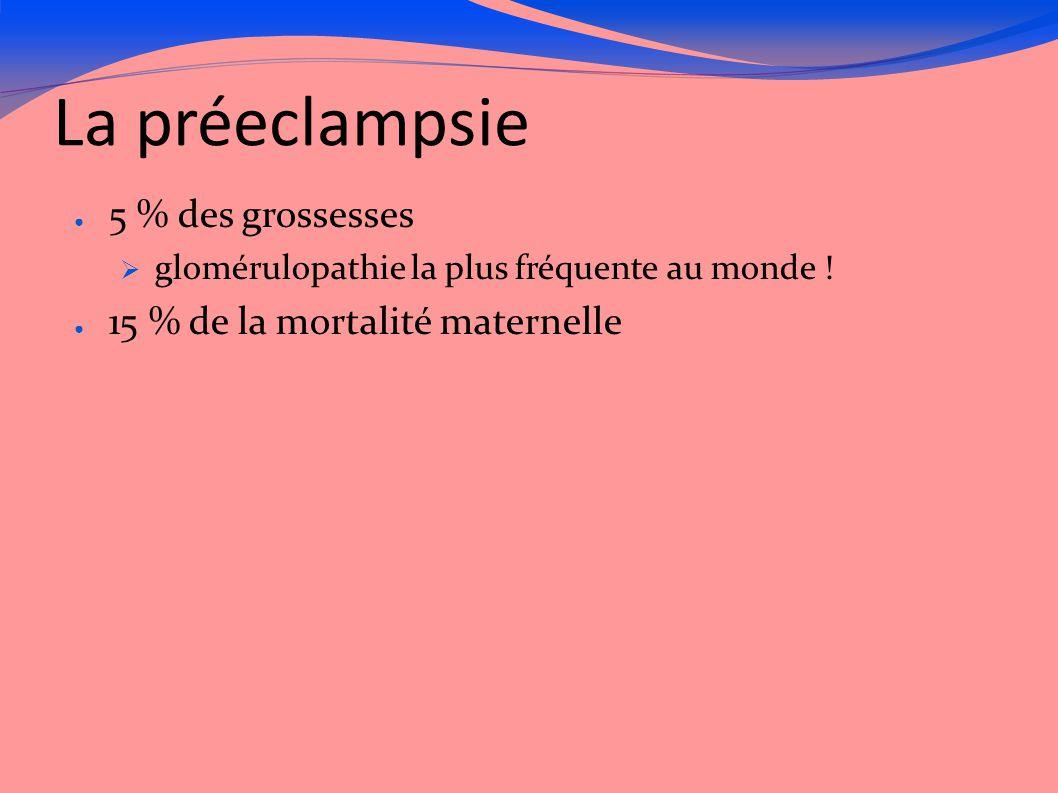 La préeclampsie ● 5 % des grossesses  glomérulopathie la plus fréquente au monde ! ● 15 % de la mortalité maternelle