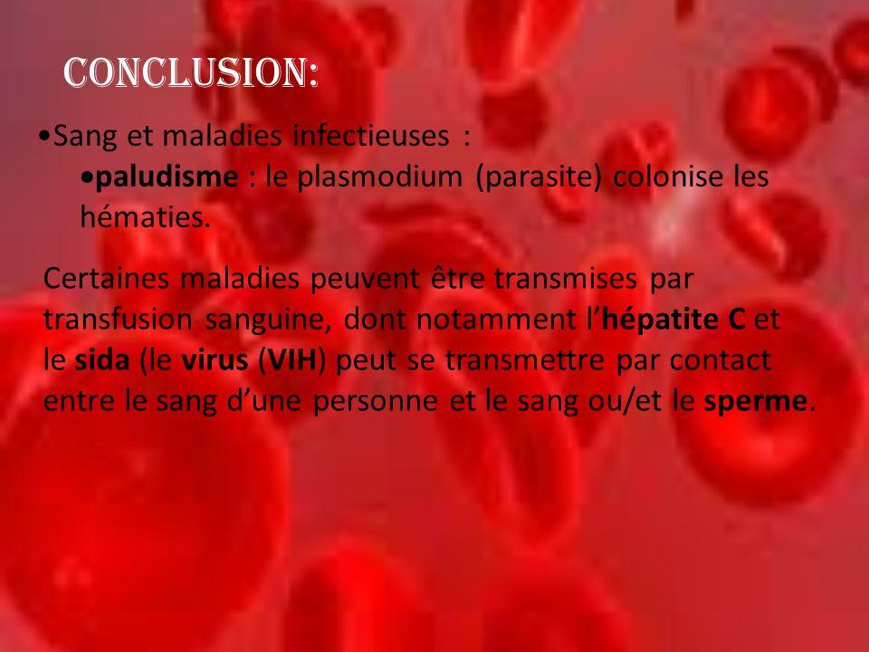 •Sang et maladies infectieuses :  paludisme : le plasmodium (parasite) colonise les hématies. CONCLUSION: Certaines maladies peuvent être transmises
