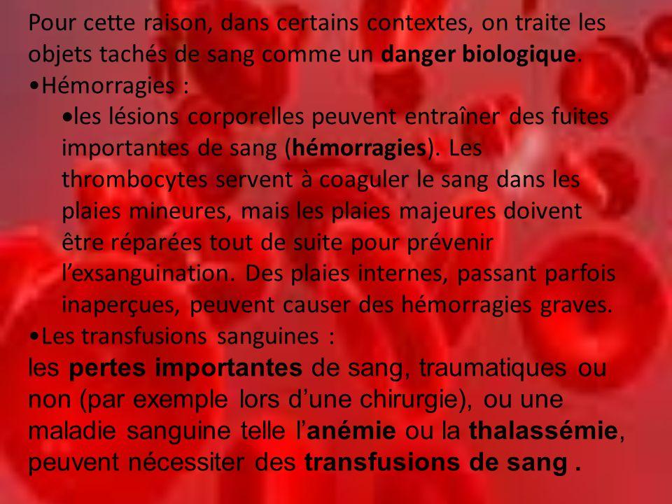 Pour cette raison, dans certains contextes, on traite les objets tachés de sang comme un danger biologique. •Hémorragies :  les lésions corporelles p