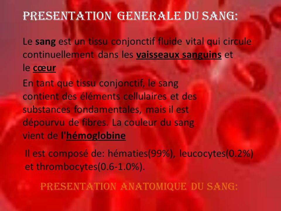 PRESENTATION GENERALE DU SANG: Le sang est un tissu conjonctif fluide vital qui circule continuellement dans les vaisseaux sanguins et le cœur En tant
