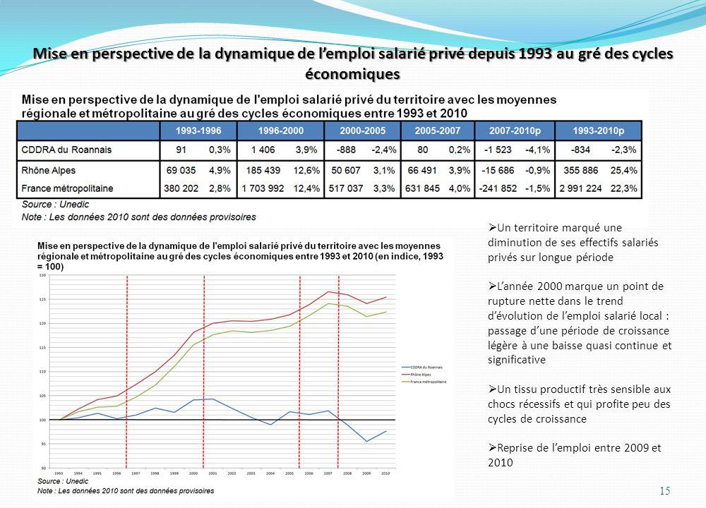 Mise en perspective de la dynamique de l'emploi salarié privé depuis 1993 au gré des cycles économiques 15  Un territoire marqué une diminution de se